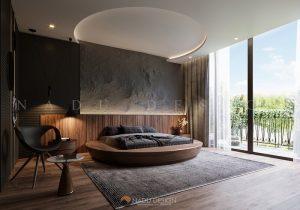 Giường ngủ gỗ óc chó cao cấp do NaDu Design thực hiện