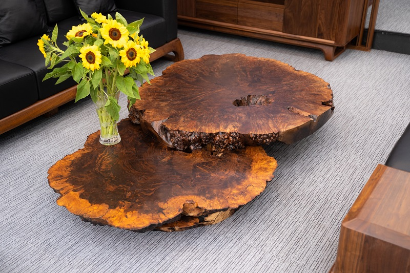 Bàn trà nu gỗ óc chó sơn inchem cao cấp, toát lên vẻ đẹp sang trọng và quyến rũ