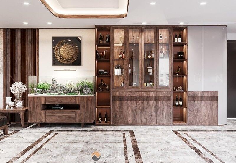 Tất cả các món đồ trong chung cư đều được làm từ chất liệu gỗ óc chó