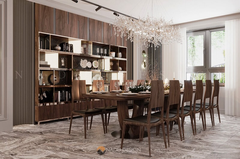 Bộ bàn ăn gỗ óc chó NaDu Design thiết kế tinh tế, vững chắc