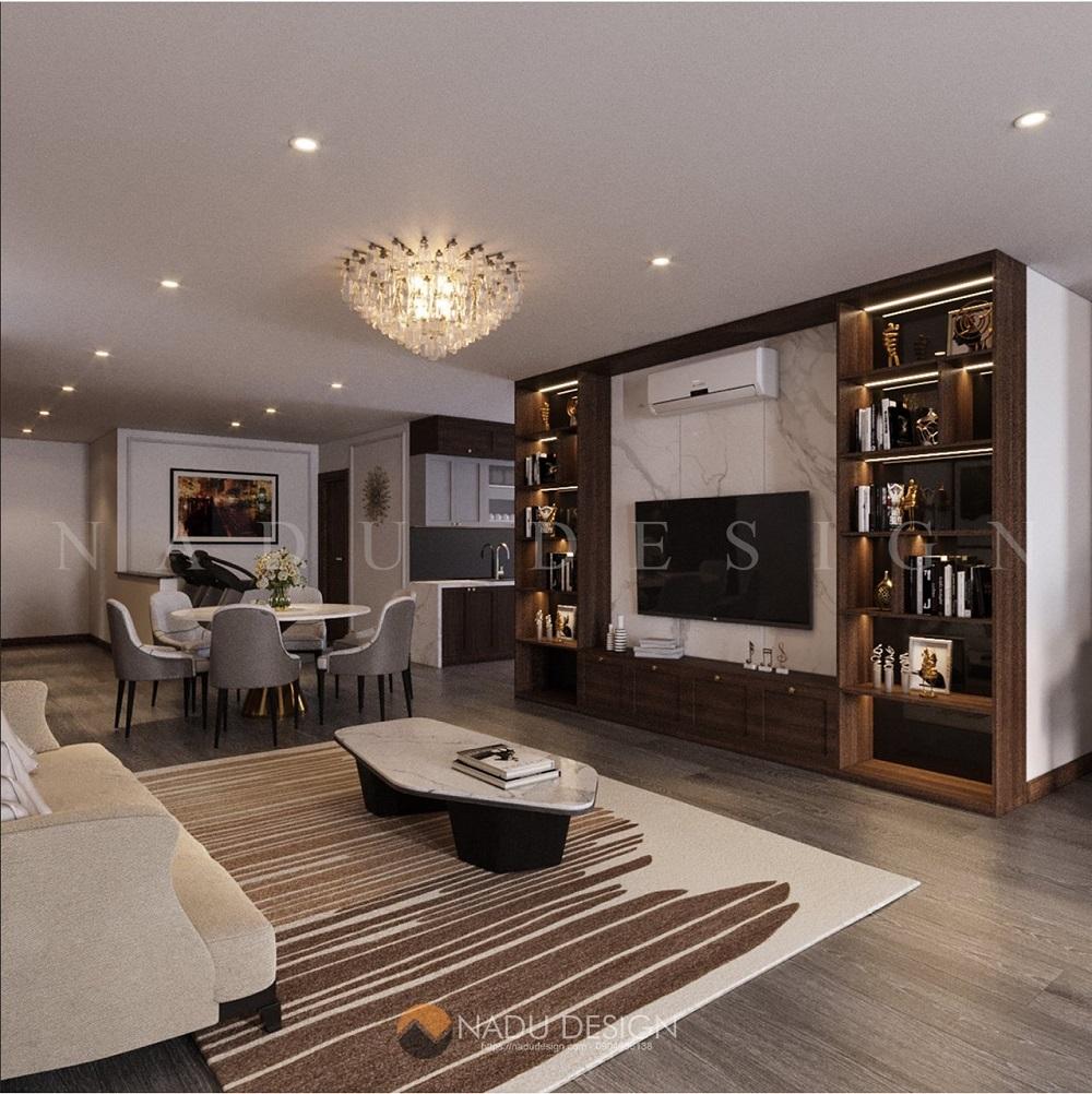 Không gian phòng khách chung cư Keangnam với kệ tivi từ chất liệu gỗ óc chó phối hợp cùng các vật liệu công nghiệp cao cấp khác.