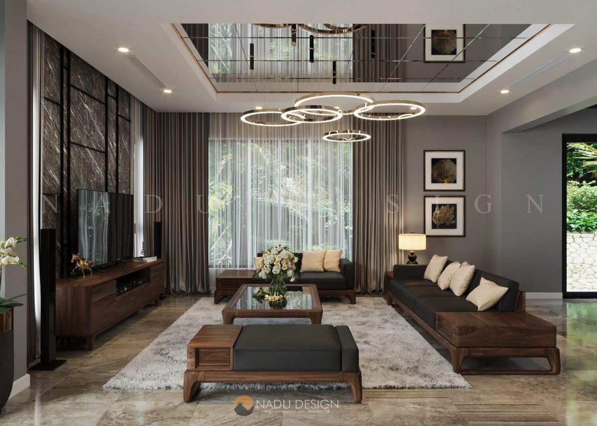 Phòng khách biệt thự, chất liệu gỗ óc chó