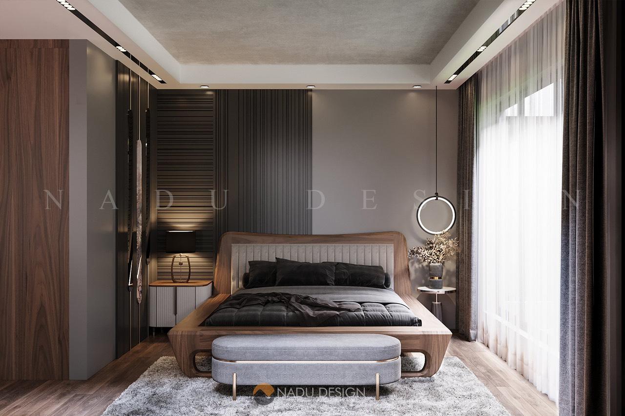 Giường ngủ gỗ óc chó kèm bàn thư giãn