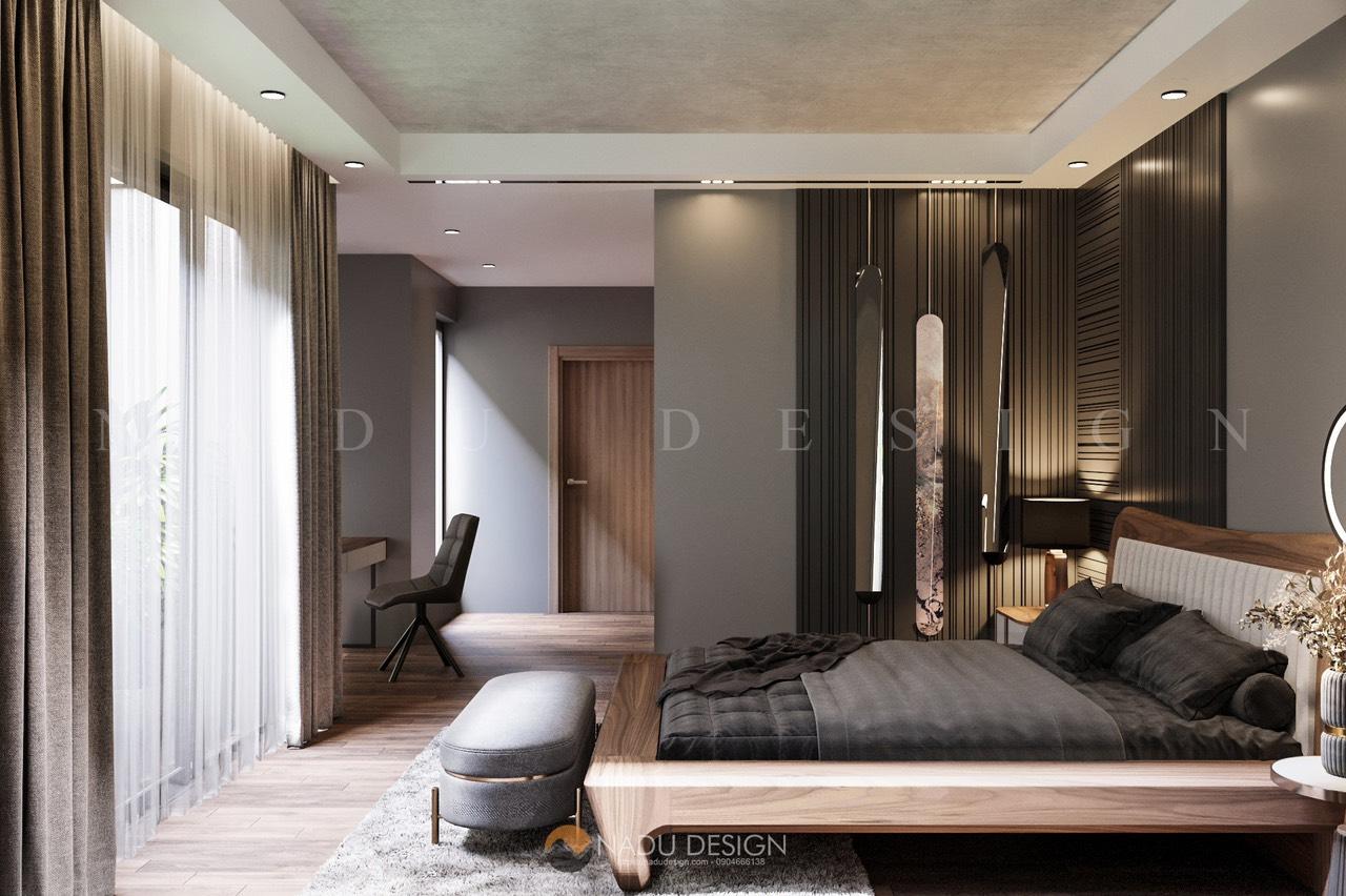 Phòng ngủ gỗ óc chó thông sang phòng thay đồ