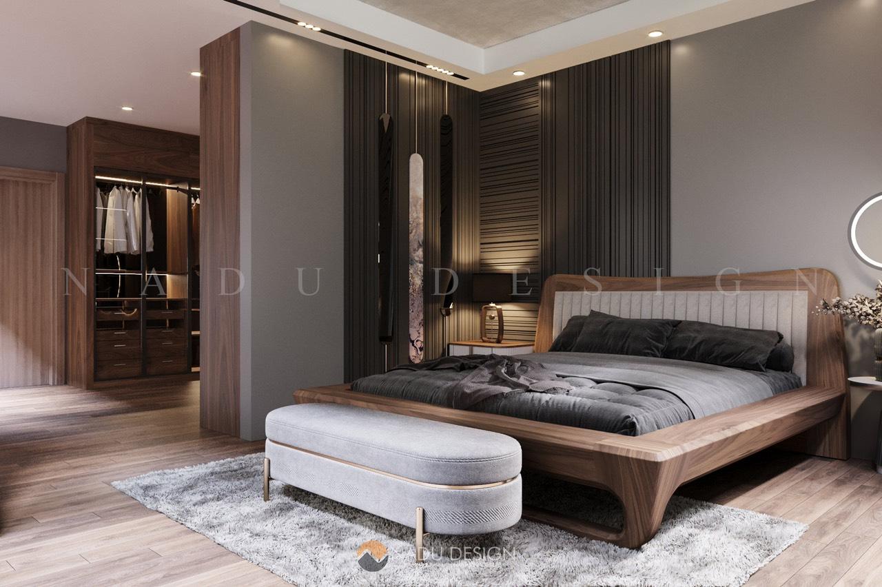 Phòng ngủ chất liệu gỗ óc chó